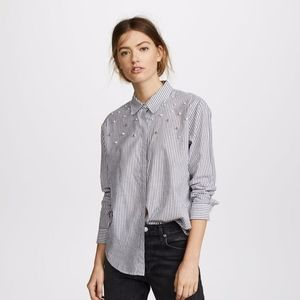 Rails Striped Button Pearls Taylor Shirt Gray NEW